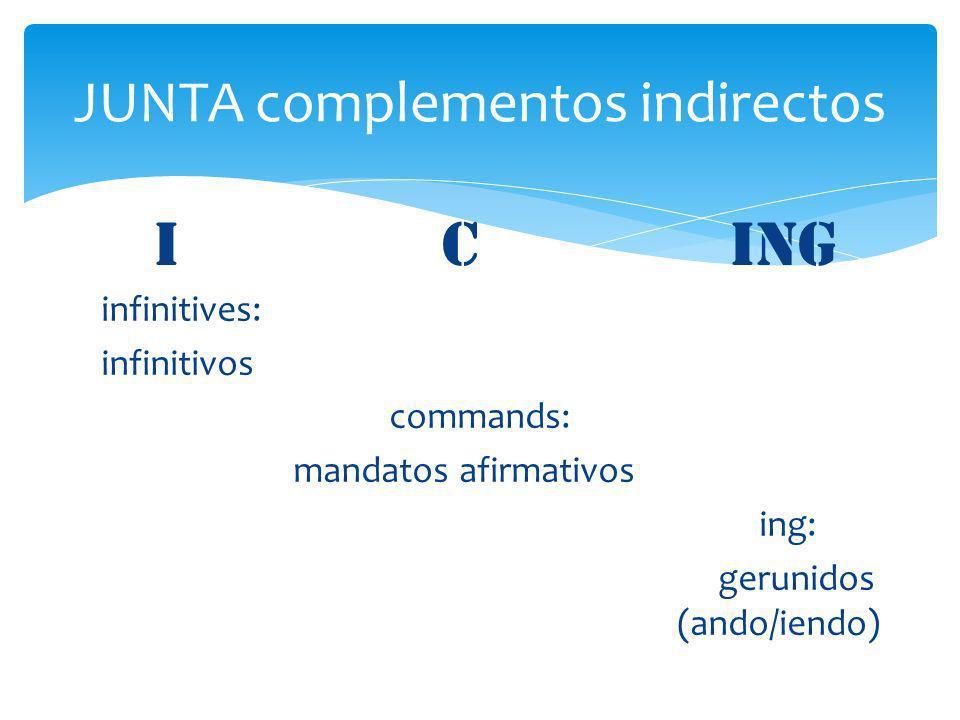 infinitives: infinitivos commands: mandatos afirmativos ing: gerunidos (ando/iendo) JUNTA complementos indirectos I Cing