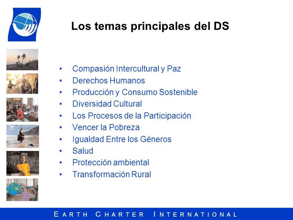 E A R T H C H A R T E R I N T E R N A T I O N A L Los temas principales del DS Compasión Intercultural y Paz Derechos Humanos Producción y Consumo Sos