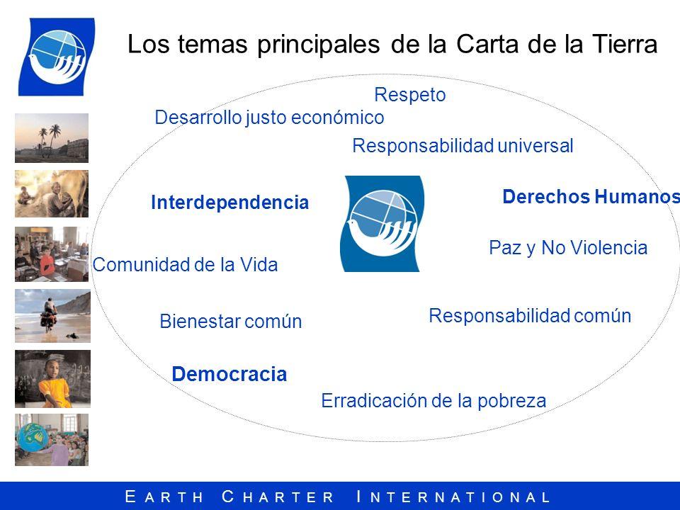 E A R T H C H A R T E R I N T E R N A T I O N A L Los temas principales de la Carta de la Tierra Responsabilidad universal Respeto Comunidad de la Vid
