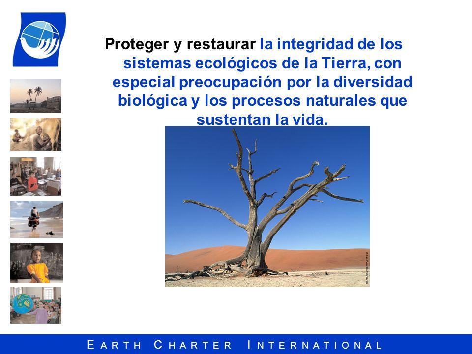 E A R T H C H A R T E R I N T E R N A T I O N A L Proteger y restaurar la integridad de los sistemas ecológicos de la Tierra, con especial preocupació
