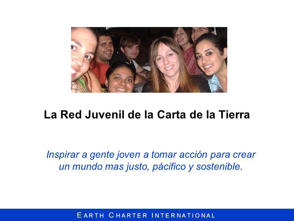 E A R T H C H A R T E R I N T E R N A T I O N A L La Red Juvenil de la Carta de la Tierra Inspirar a gente joven a tomar acción para crear un mundo ma