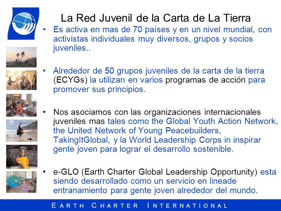 E A R T H C H A R T E R I N T E R N A T I O N A L La Red Juvenil de la Carta de La Tierra Es activa en mas de 70 países y en un nivel mundial, con act