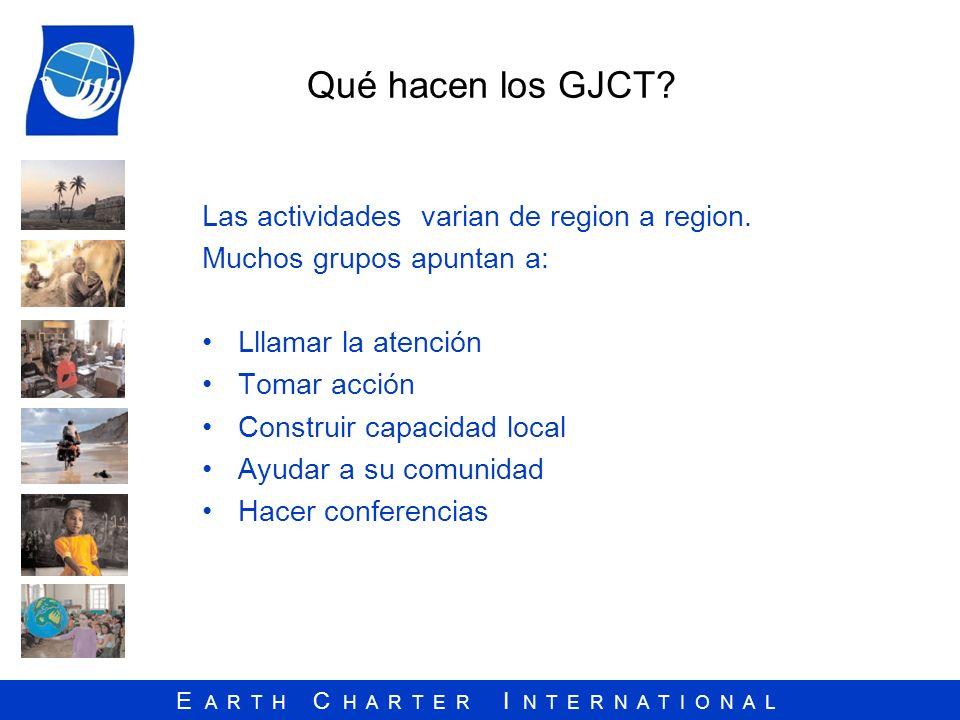 E A R T H C H A R T E R I N T E R N A T I O N A L Qué hacen los GJCT? Las actividades varian de region a region. Muchos grupos apuntan a: Lllamar la a