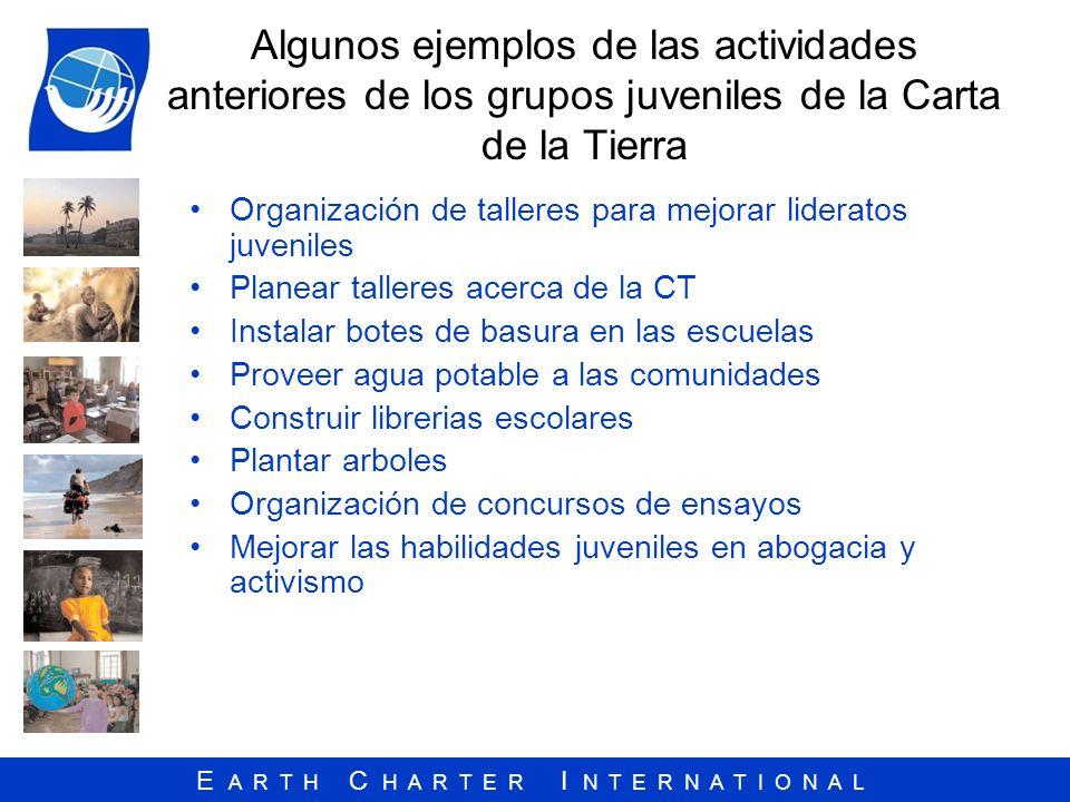 E A R T H C H A R T E R I N T E R N A T I O N A L Algunos ejemplos de las actividades anteriores de los grupos juveniles de la Carta de la Tierra Orga