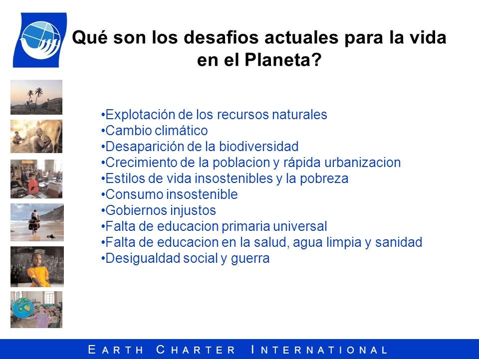 E A R T H C H A R T E R I N T E R N A T I O N A L Qué son los desafios actuales para la vida en el Planeta? Explotación de los recursos naturales Camb