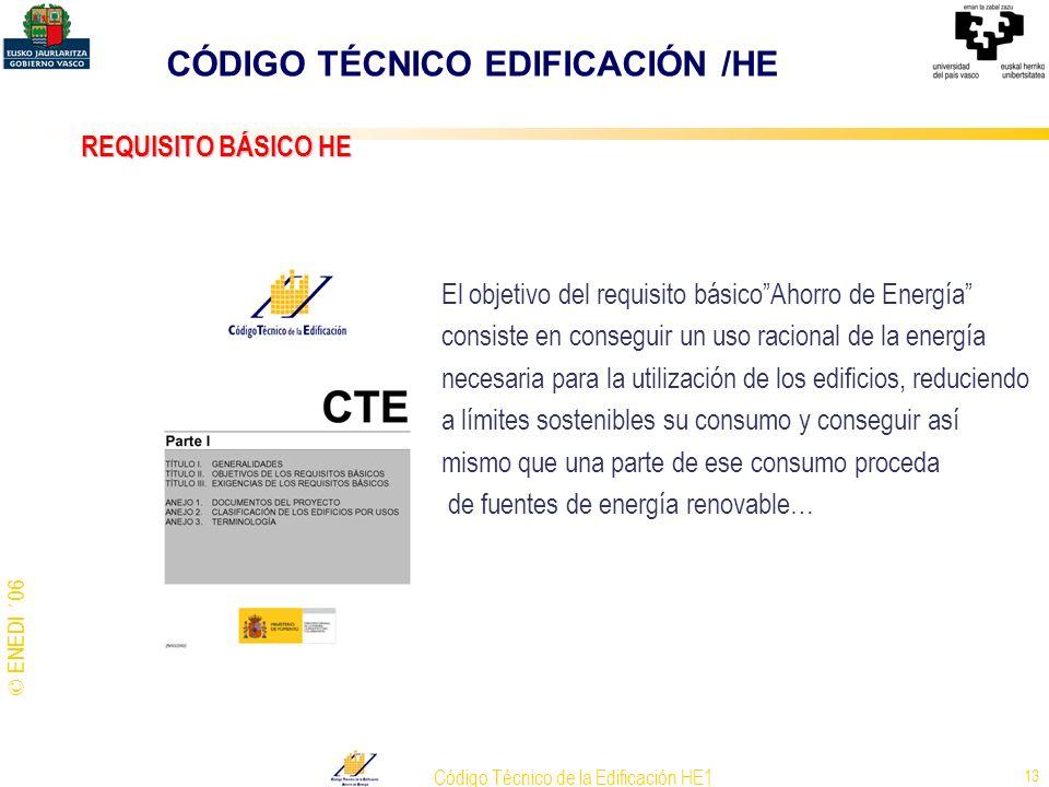 © ENEDI ´06 Código Técnico de la Edificación HE1 13 REQUISITO BÁSICO HE El objetivo del requisito básicoAhorro de Energía consiste en conseguir un uso