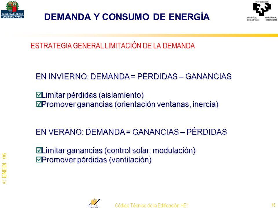 © ENEDI ´06 Código Técnico de la Edificación HE1 16 EN INVIERNO: DEMANDA = PÉRDIDAS – GANANCIAS Limitar pérdidas (aislamiento) Limitar pérdidas (aisla