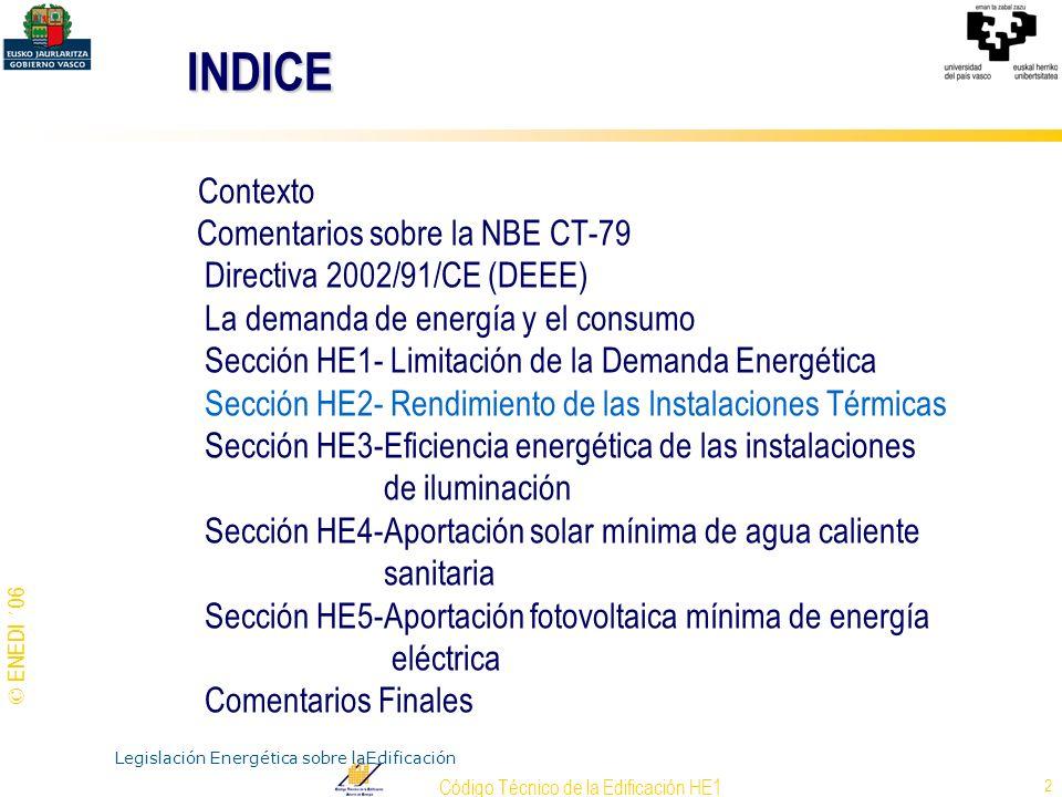 © ENEDI ´06 Código Técnico de la Edificación HE1 3 CONSUMO ANUAL Y EMISIÓN DE CO 2 EN EL SECTOR DE LA EDIFICACIÓN Electricidad Combustibles Emisión de CO 2 Consumo total de energía 16% Datos del IDAE CONTEXTO