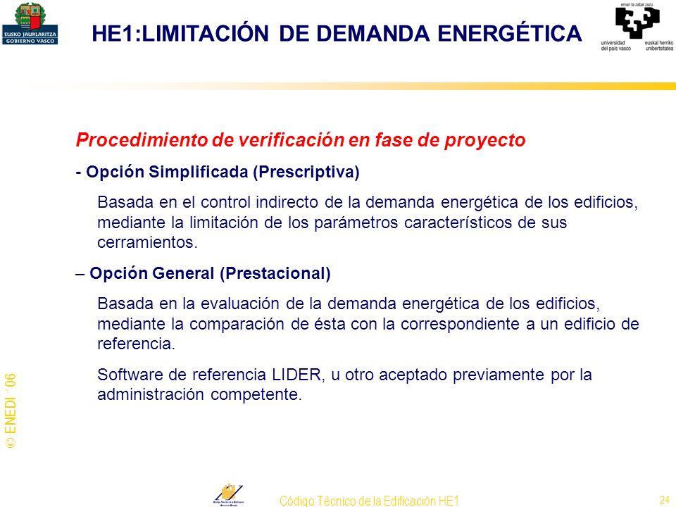 © ENEDI ´06 Código Técnico de la Edificación HE1 24 Procedimiento de verificación en fase de proyecto - Opción Simplificada (Prescriptiva) Basada en e