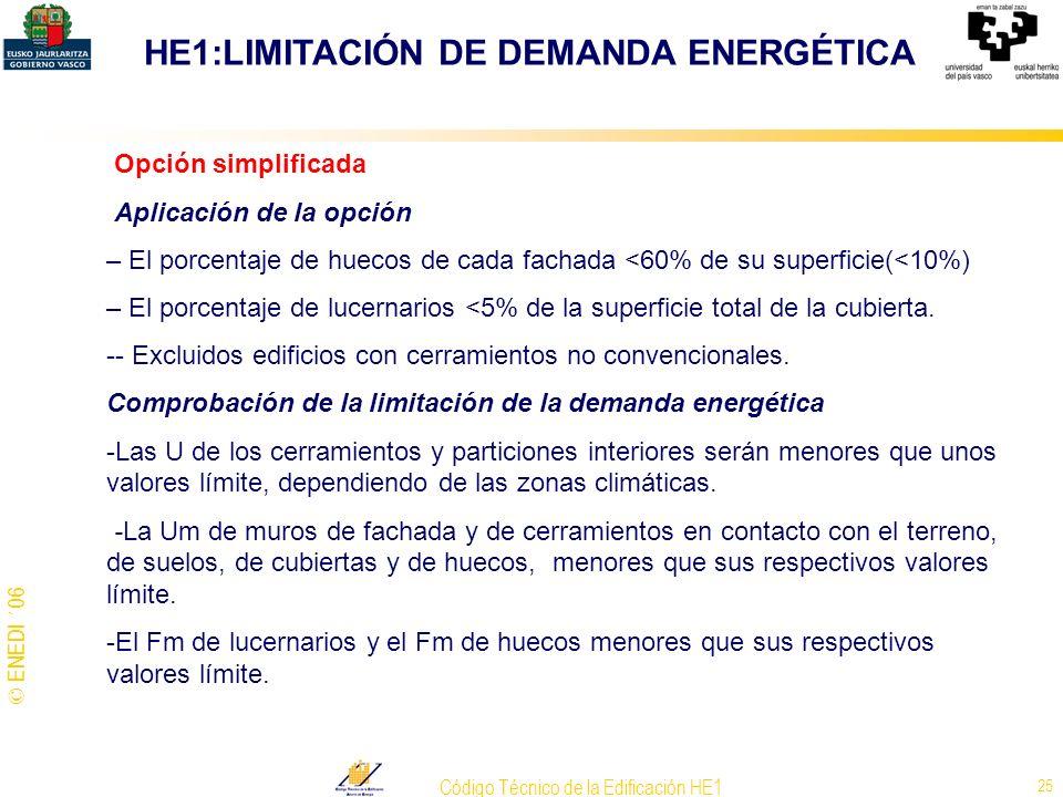 © ENEDI ´06 Código Técnico de la Edificación HE1 25 Opción simplificada Aplicación de la opción – El porcentaje de huecos de cada fachada <60% de su s