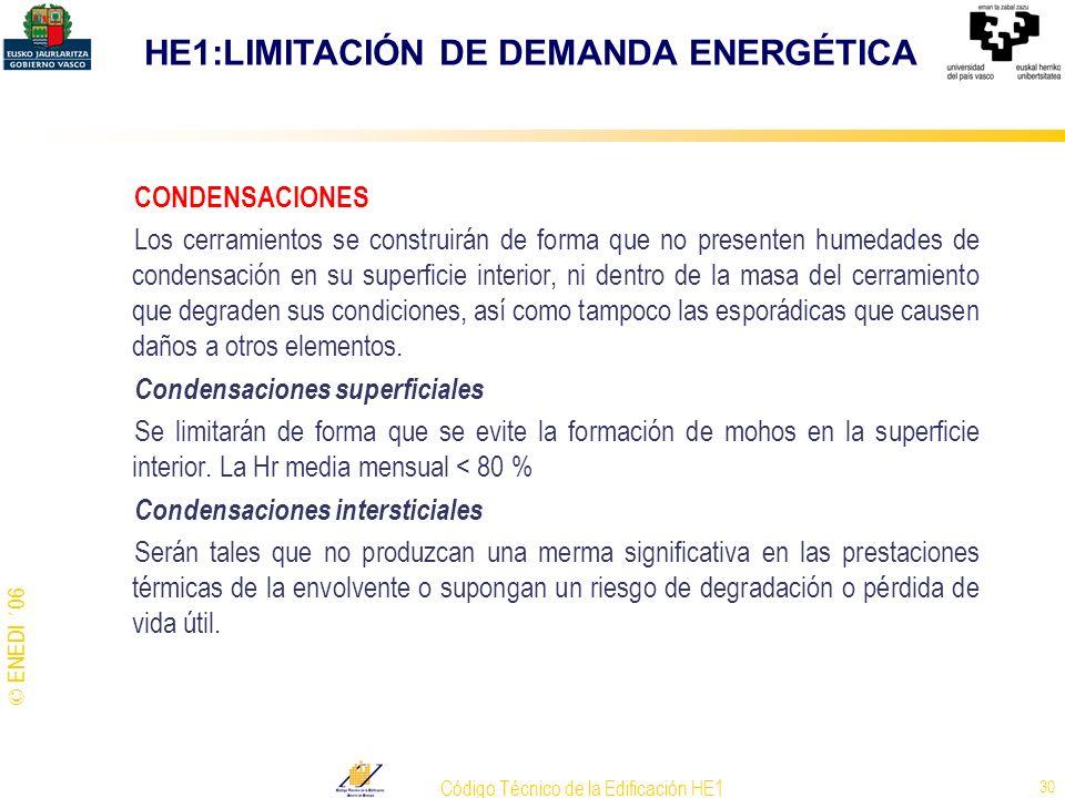 © ENEDI ´06 Código Técnico de la Edificación HE1 30 CONDENSACIONES Los cerramientos se construirán de forma que no presenten humedades de condensación