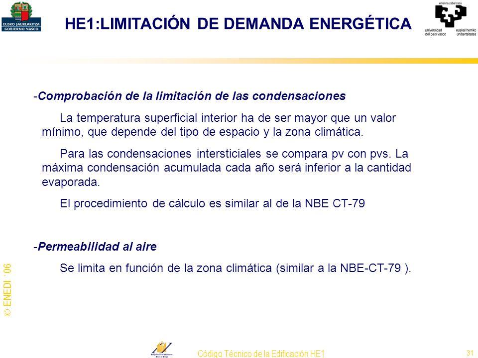 © ENEDI ´06 Código Técnico de la Edificación HE1 31 -Comprobación de la limitación de las condensaciones La temperatura superficial interior ha de ser