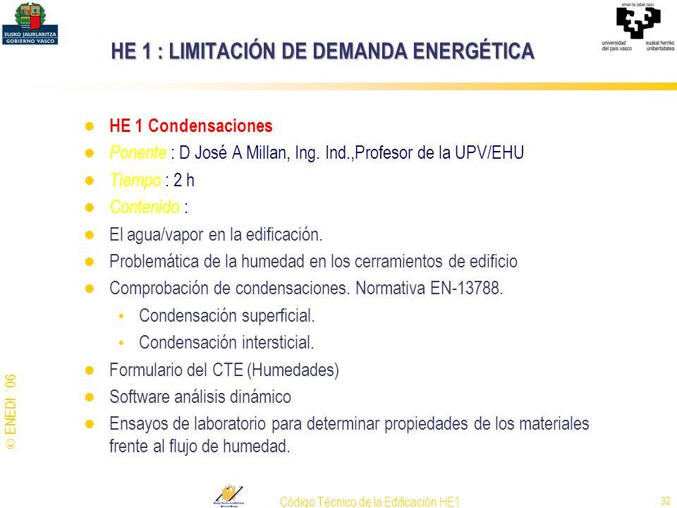 © ENEDI ´06 Código Técnico de la Edificación HE1 32 HE 1 : LIMITACIÓN DE DEMANDA ENERGÉTICA HE 1 Condensaciones Ponente : D José A Millan, Ing. Ind.,P