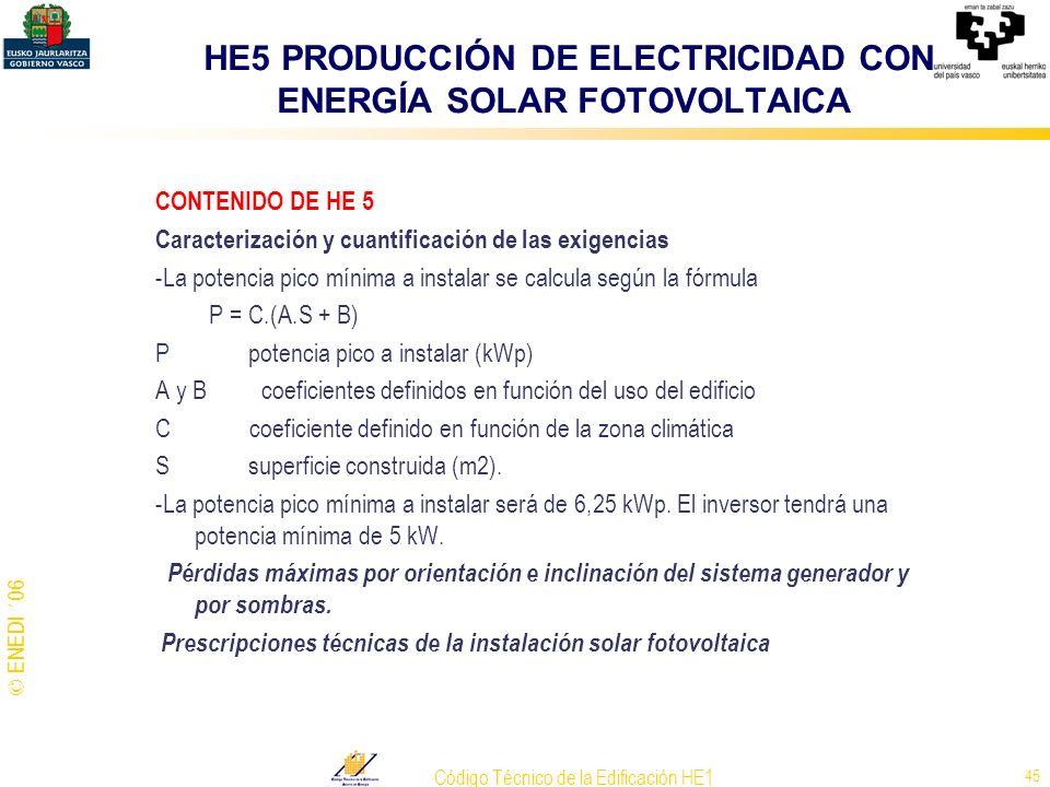 © ENEDI ´06 Código Técnico de la Edificación HE1 45 CONTENIDO DE HE 5 Caracterización y cuantificación de las exigencias -La potencia pico mínima a in