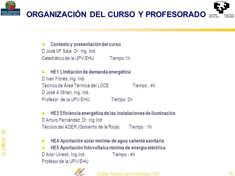 © ENEDI ´06 Código Técnico de la Edificación HE1 48 ORGANIZACIÓN DEL CURSO Y PROFESORADO Contexto y presentación del curso D José Mª Sala, Dr. Ing. In