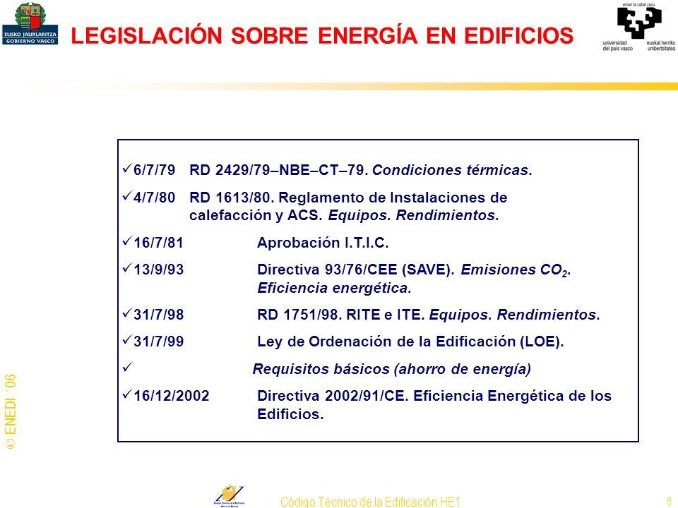 © ENEDI ´06 Código Técnico de la Edificación HE1 17 CONSUMO DE ENERGÍA Epidermis: forma (compacidad),orientación, % vidriado fachadas, características constructivas.
