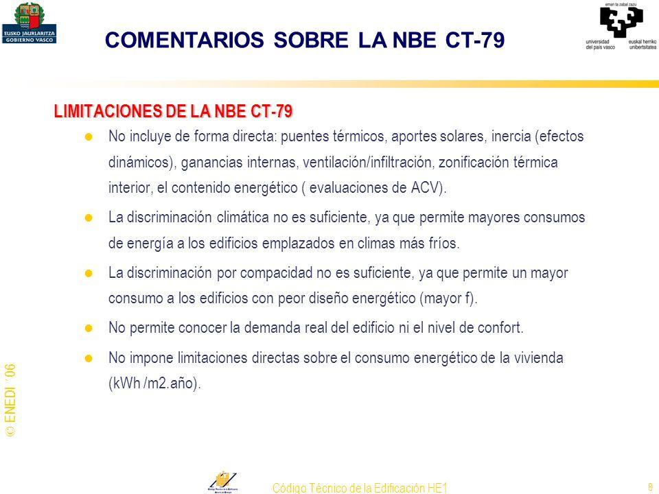 © ENEDI ´06 Código Técnico de la Edificación HE1 8 LIMITACIONES DE LA NBE CT-79 No incluye de forma directa: puentes térmicos, aportes solares, inerci