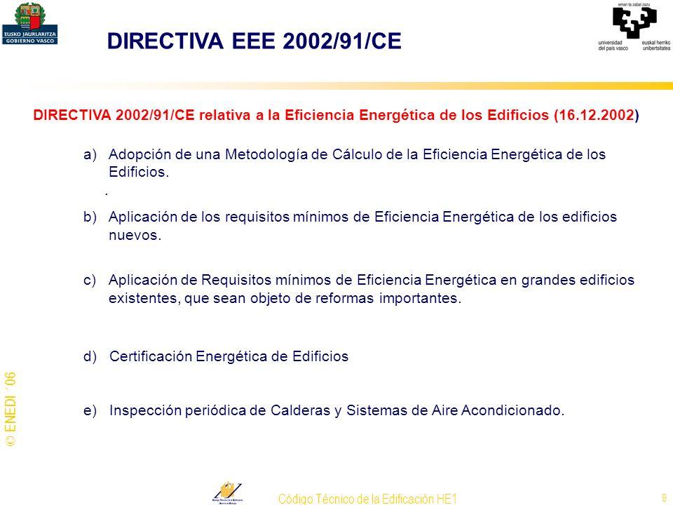 © ENEDI ´06 Código Técnico de la Edificación HE1 9 DIRECTIVA 2002/91/CE relativa a la Eficiencia Energética de los Edificios (16.12.2002) a)Adopción d