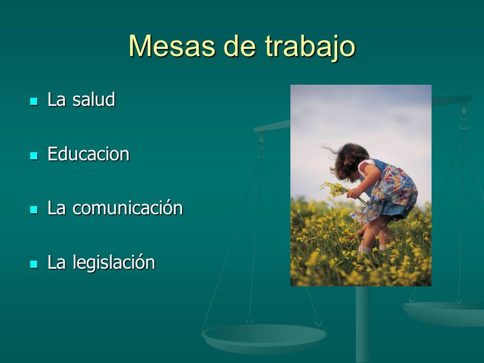 Mesas de trabajo La salud La salud Educacion Educacion La comunicación La comunicación La legislación La legislación