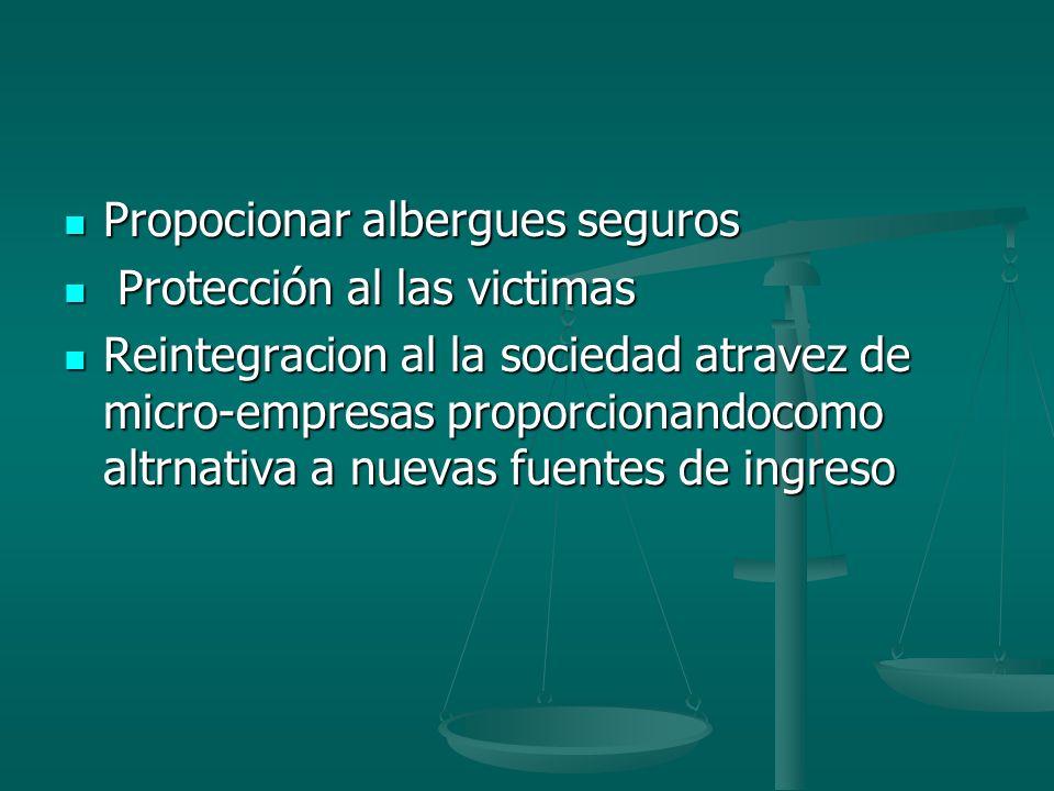 Propocionar albergues seguros Propocionar albergues seguros Protección al las victimas Protección al las victimas Reintegracion al la sociedad atravez