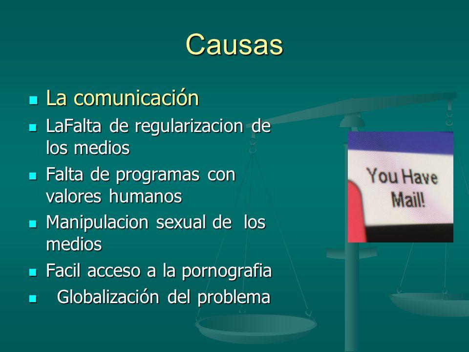 Causas La comunicación La comunicación LaFalta de regularizacion de los medios LaFalta de regularizacion de los medios Falta de programas con valores