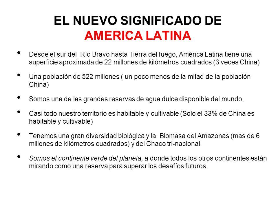 EL NUEVO SIGNIFICADO DE AMERICA LATINA Desde el sur del Río Bravo hasta Tierra del fuego, América Latina tiene una superficie aproximada de 22 millone