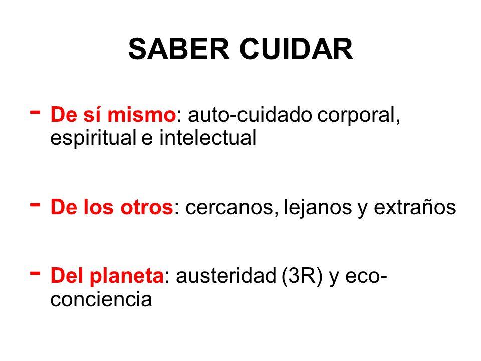SABER CUIDAR - De sí mismo: auto-cuidado corporal, espiritual e intelectual - De los otros: cercanos, lejanos y extraños - Del planeta: austeridad (3R