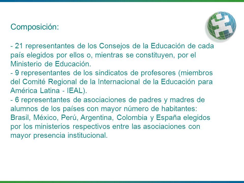 Composición: - 21 representantes de los Consejos de la Educación de cada país elegidos por ellos o, mientras se constituyen, por el Ministerio de Educ
