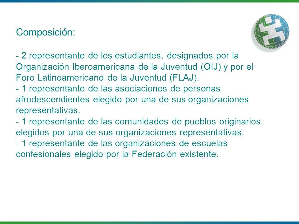 Composición: - 2 representante de los estudiantes, designados por la Organización Iberoamericana de la Juventud (OIJ) y por el Foro Latinoamericano de