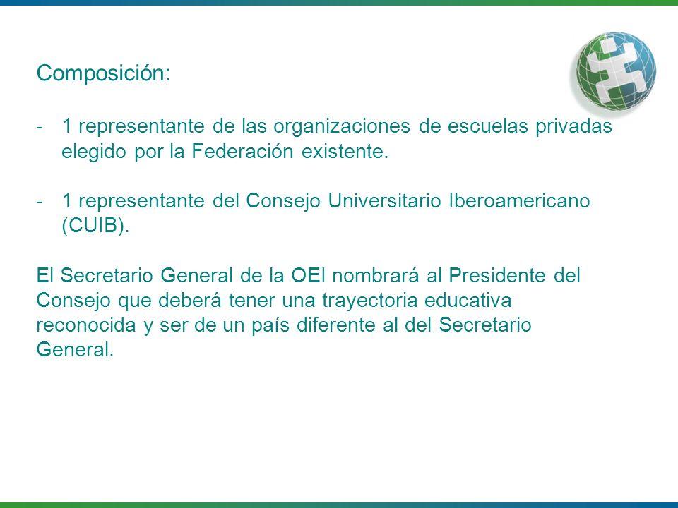 Composición: -1 representante de las organizaciones de escuelas privadas elegido por la Federación existente. -1 representante del Consejo Universitar