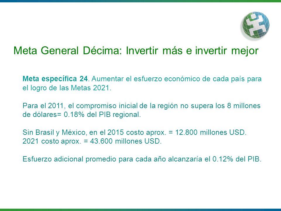 Meta General Décima: Invertir más e invertir mejor Meta específica 24. Aumentar el esfuerzo económico de cada país para el logro de las Metas 2021. Pa