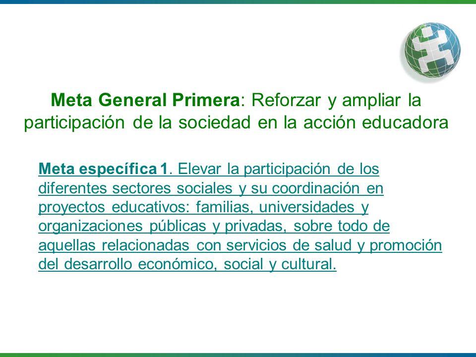 Meta General Primera: Reforzar y ampliar la participación de la sociedad en la acción educadora Meta específica 1. Elevar la participación de los dife