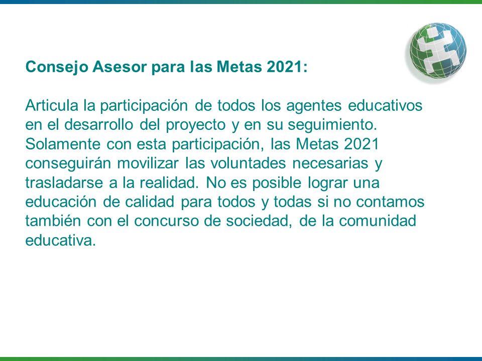 Consejo Asesor para las Metas 2021: Articula la participación de todos los agentes educativos en el desarrollo del proyecto y en su seguimiento. Solam