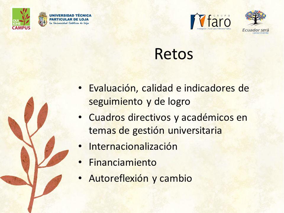 Retos Evaluación, calidad e indicadores de seguimiento y de logro Cuadros directivos y académicos en temas de gestión universitaria Internacionalización Financiamiento Autoreflexión y cambio