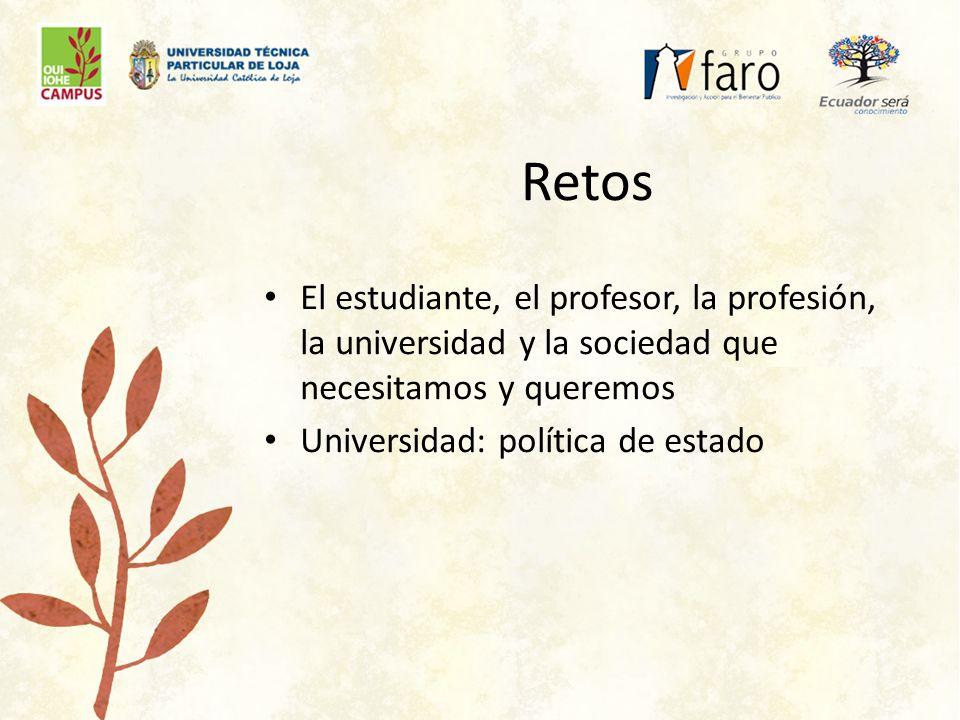 Retos El estudiante, el profesor, la profesión, la universidad y la sociedad que necesitamos y queremos Universidad: política de estado