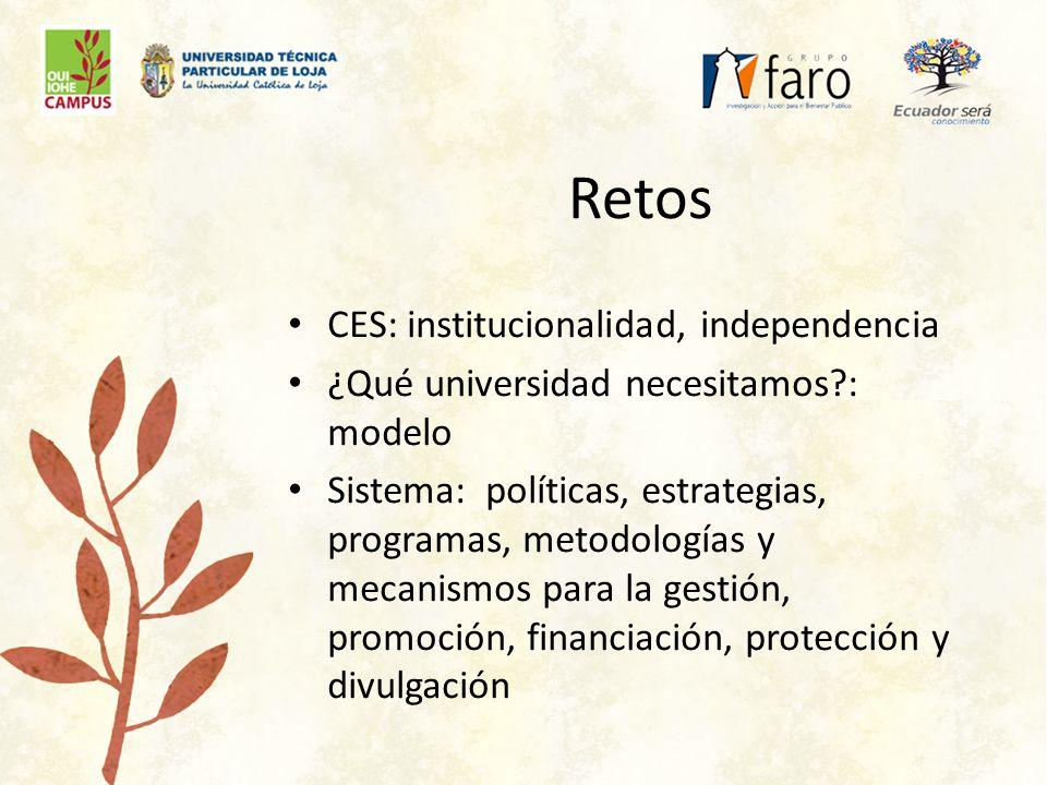 Retos CES: institucionalidad, independencia ¿Qué universidad necesitamos : modelo Sistema: políticas, estrategias, programas, metodologías y mecanismos para la gestión, promoción, financiación, protección y divulgación