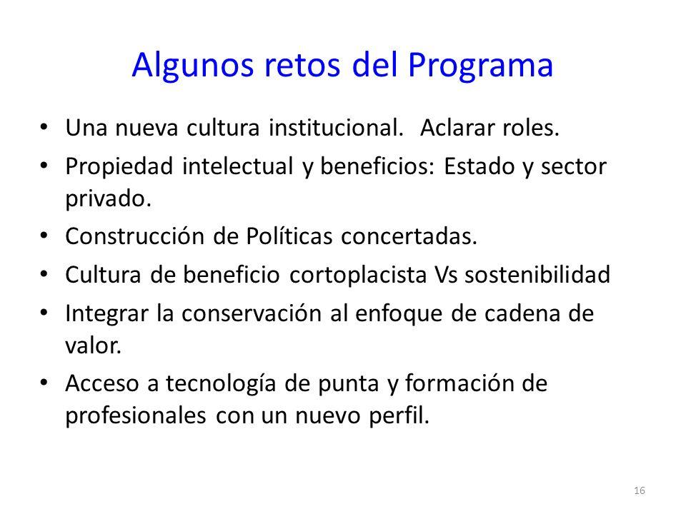 Algunos retos del Programa Una nueva cultura institucional. Aclarar roles. Propiedad intelectual y beneficios: Estado y sector privado. Construcción d