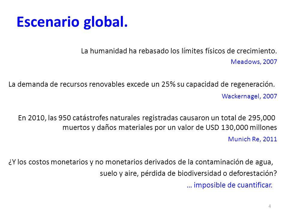 Escenario global. La humanidad ha rebasado los límites físicos de crecimiento. Meadows, 2007 La demanda de recursos renovables excede un 25% su capaci