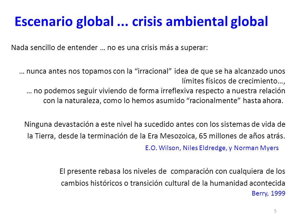 Escenario global... crisis ambiental global Nada sencillo de entender … no es una crisis más a superar: … nunca antes nos topamos con la irracional id