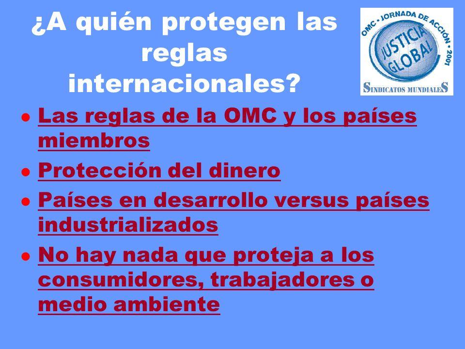 ¿A quién protegen las reglas internacionales? l Las reglas de la OMC y los países miembros Las reglas de la OMC y los países miembros l Protección del