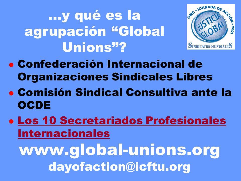 www.global-unions.org dayofaction@icftu.org …y qué es la agrupación Global Unions? l Confederación Internacional de Organizaciones Sindicales Libres l