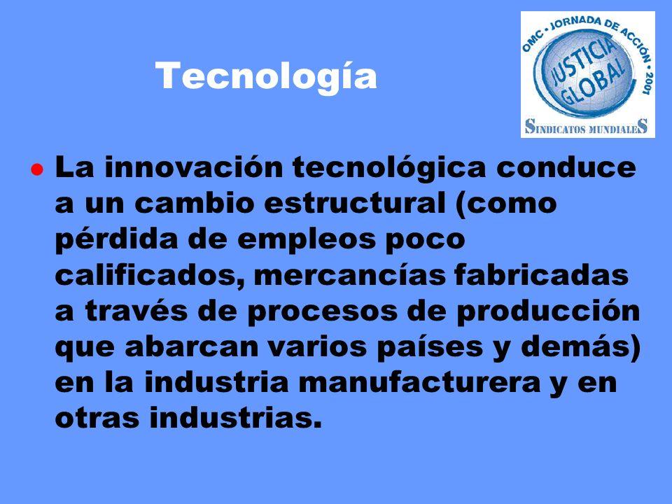 Tecnología l La innovación tecnológica conduce a un cambio estructural (como pérdida de empleos poco calificados, mercancías fabricadas a través de procesos de producción que abarcan varios países y demás) en la industria manufacturera y en otras industrias.