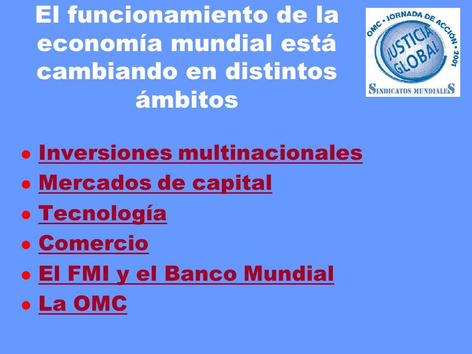 El funcionamiento de la economía mundial está cambiando en distintos ámbitos l Inversiones multinacionales Inversiones multinacionales l Mercados de capital Mercados de capital l Tecnología Tecnología l Comercio Comercio l El FMI y el Banco Mundial El FMI y el Banco Mundial l La OMC La OMC