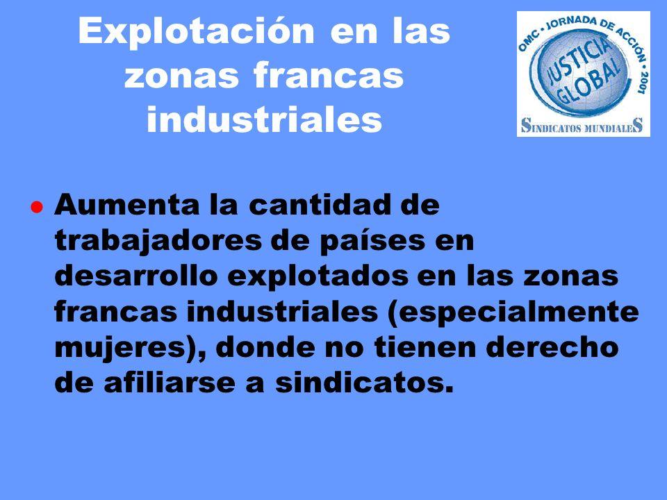 Explotación en las zonas francas industriales l Aumenta la cantidad de trabajadores de países en desarrollo explotados en las zonas francas industriales (especialmente mujeres), donde no tienen derecho de afiliarse a sindicatos.