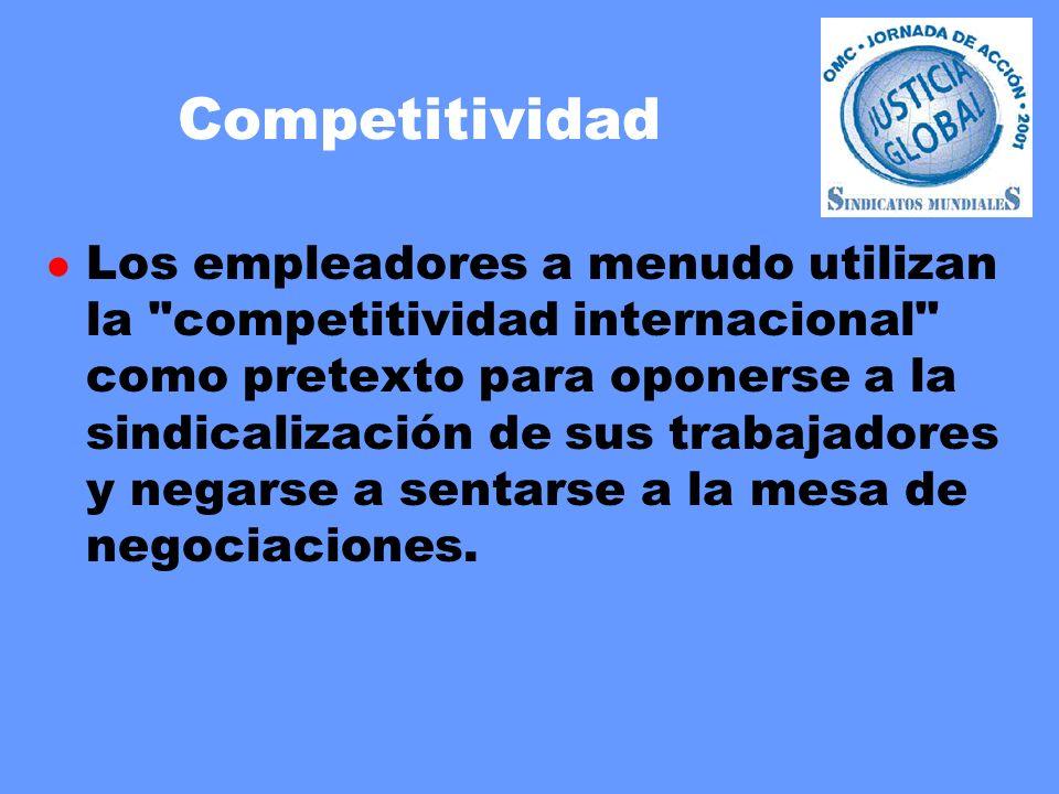 Competitividad l Los empleadores a menudo utilizan la competitividad internacional como pretexto para oponerse a la sindicalización de sus trabajadores y negarse a sentarse a la mesa de negociaciones.