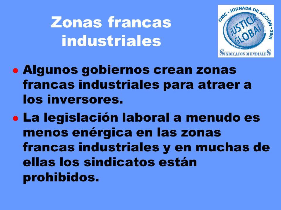 Zonas francas industriales l Algunos gobiernos crean zonas francas industriales para atraer a los inversores. l La legislación laboral a menudo es men