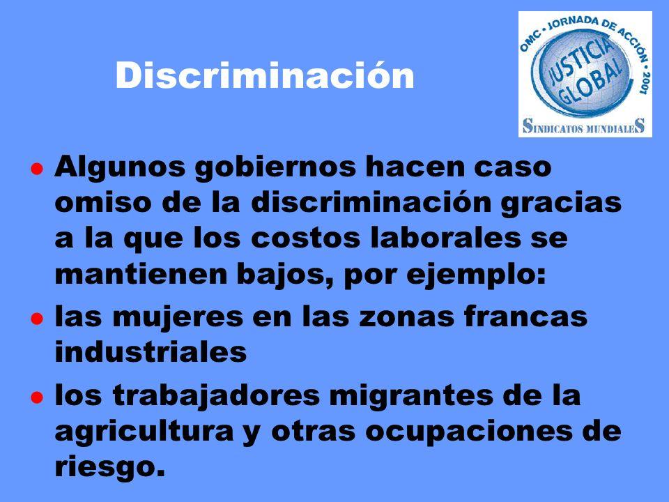 Discriminación l Algunos gobiernos hacen caso omiso de la discriminación gracias a la que los costos laborales se mantienen bajos, por ejemplo: l las mujeres en las zonas francas industriales l los trabajadores migrantes de la agricultura y otras ocupaciones de riesgo.