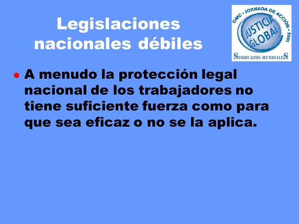 Legislaciones nacionales débiles l A menudo la protección legal nacional de los trabajadores no tiene suficiente fuerza como para que sea eficaz o no se la aplica.