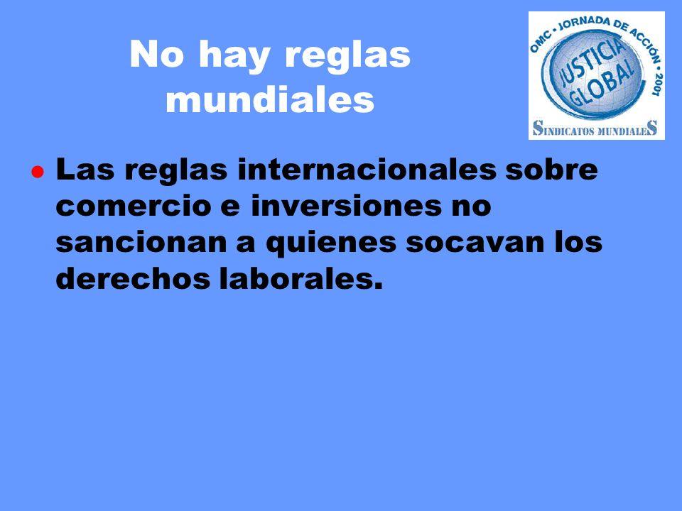 No hay reglas mundiales l Las reglas internacionales sobre comercio e inversiones no sancionan a quienes socavan los derechos laborales.