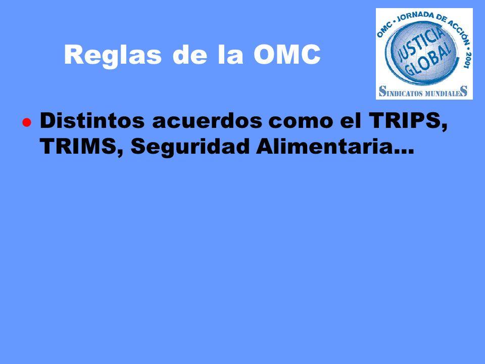 Reglas de la OMC l Distintos acuerdos como el TRIPS, TRIMS, Seguridad Alimentaria...